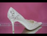 Свадебные туфли белые острый мыс кожаные классика средний шпилька каблук украшены стразами бисером