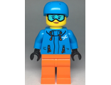 Skier Female, Dark Azure Jacket and Helmet, Goggles with Peach Lips, n/a (cty0991)