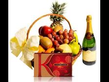 Подарочная корзина с фруктами, шоколадом и Шампанское