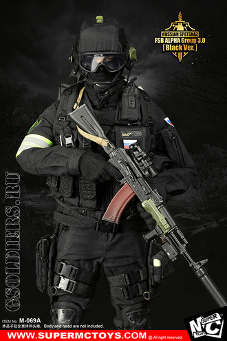 "Спецназ ""Альфа"" - КОМПЛЕКТ ЭКИПИРОВКИ 1/6 Russian Spetsnaz - FSB Alfa Group 3.0 Black Ver. (M-069 A) - SUPER MC TOYS (БЕЗ ТЕЛА И ГОЛОВЫ)"