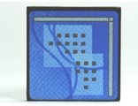Road Sign Clip-on 2 x 2 Square with Curved Blue Lines and Small Black Squares Pattern (Computer Screen), Black (30258pb018 / 4609276)