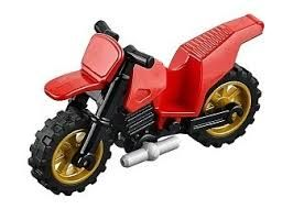 Motorcycle Dirt Bike, Complete Assembly with Black Chassis and Pearl Gold Wheels, Red (50860c03)