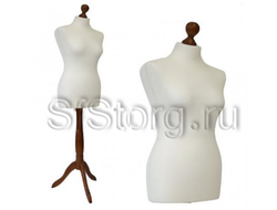 MDB-6 R (50-52) Манекен портновский женский мягкий белый на деревянной подставке