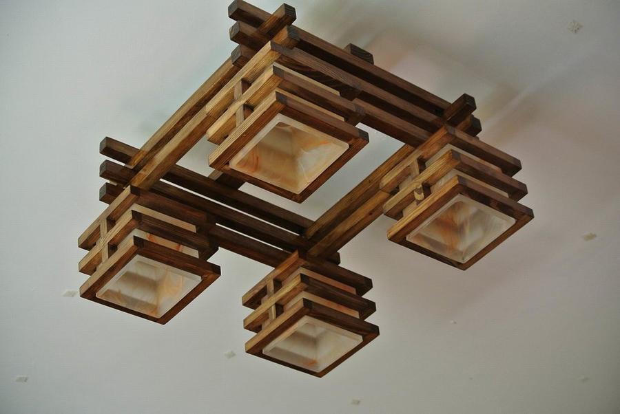 Квадратная люстра из дерева своими руками 71
