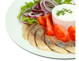 От Иваныча: сельдь, картофель, помидоры, лук, сметана, 240/40 гр, 612 Ккал