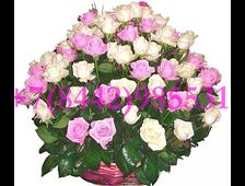 101 белая и розовая роза в корзине Шик Роз