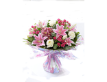"""Букет """"Розовое счастье"""" из лилий и кустовых роз"""
