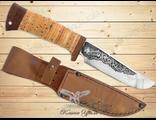 Нож Туристический НС-14 (Рукоять: береста, Сталь: ЭИ-107, Тыльник: текстолит)