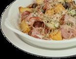 Картофельная запеканка с грудинкой и грибами: копченая грудинка, шампиньоны, картофель, сливочный соус, сыр Пармезан, 250 гр, 782 Ккал