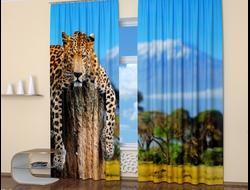 Фотошторы для спальни: Томный леопард