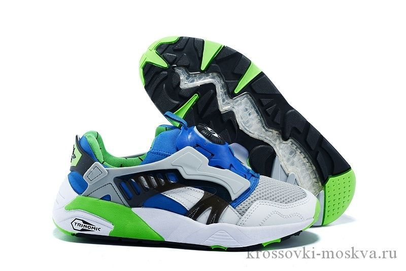 Puma Disc Blaze белые с синим и зеленым кроссовки (артикул-3)