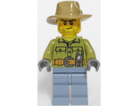 Volcano Explorer - Male, Shirt with Belt and Radio, Dark Tan Fedora Hat, Crooked Smile and Scar, n/a (cty0694)