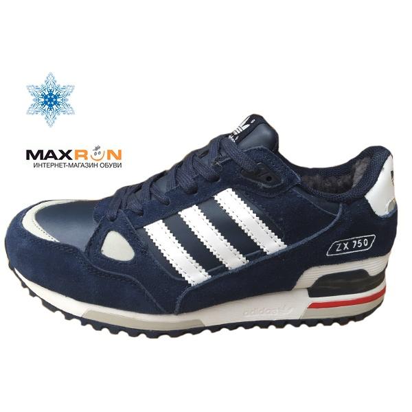 50de94ba Кроссовки Adidas Zx-750 С МЕХОМ мужские темно-синие