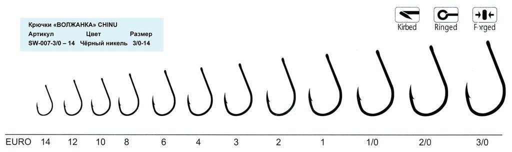 """Крючки """"Волжанка"""" Chinu  размер от  1 до  6 (10штуп)"""