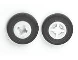 Wheel 8mm D. x 6mm with Black Tire 14mm D. x 4mm Smooth Small Single with Number Molded on Side  4624 / 59895 , White (4624c05)