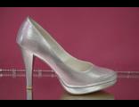 Распродажа туфли свадебные серебренные на платформе высокий широкий каблук удобная колодка № 753-05=серебро