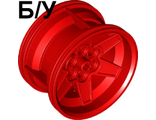 ! Б/У - Wheel 56mm D. x 34mm Technic Racing Medium, 6 Pin Holes, Red (15038 / 6149984) - Б/У