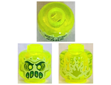 Minifigure, Head Alien Ghost with Yellowish Green Face, Slime Mouth and Flames in Back Pattern - Vented Stud, Trans-Neon Green (28621pb0011 / 6300199)
