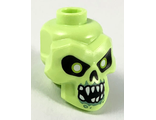 Minifigure, Head Modified Skull with Black Eyes, Nose, Mouth, White Pupils, Teeth and Sand Green Around Mouth Pattern, Yellowish Green (43693pb05 / 6290493)