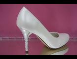 Свадебные туфли бежевые перламутровые среднем каблуке украшен стразами серебренными кожаные купить