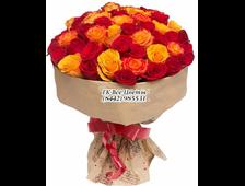 35 голландских роз в рыже-красной гамме