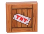 Tile 2 x 2 with TNT on Wood Grain Pattern, Medium Dark Flesh (3068bpb0975 / 6149979)