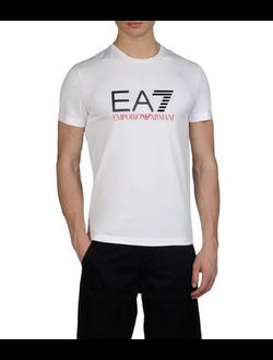 Футболка EA7 Emporio Armani однотонная с логотипом, цвет белый