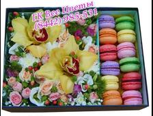 Букет в коробке цветы Орхидеи смешанные с макарунами