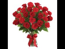21 Красная Гвоздика и 6 красных роз букет поцелуй Кармэн
