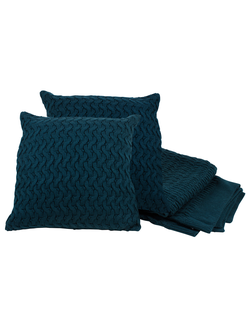 Плед и 2 подушки PLAID+2 CUSHIONS SAND PETROL BLUE 125X150+40X40ACRарт.31880