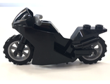 Motorcycle Sport Bike Complete Assembly with Black Windshield Pattern and Light Bluish Gray Wheels, Black (18895c02pb01)