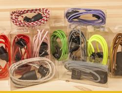 Комплекты текстильных ретро проводов с розеткой и электропатроном