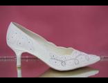 Свадебные туфли белый средний каблук острый мыс классические украшены вышивкой стразами серебро  № 672-83=ХХ