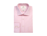 Рубашка Hawes & Curtis Men's Formal Pink Poplin Slim Fit Shirt - Single Cuff - Easy Iron