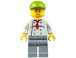 Chef - White Torso with 8 Buttons, Light Bluish Gray Legs, Lime Short Bill Cap ;Fire Station Hot Dog Vendor;, n/a (cty0671)