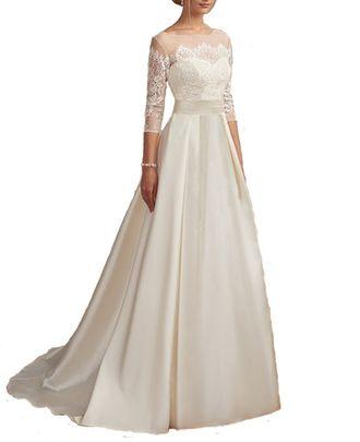 155c93b355a Свадебное платье с атласной юбкой и кружевным верхом с рукавами 3 4 А- силуэта