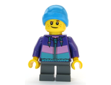 Boy - Dark Purple Jacket, Dark Bluish Gray Short Legs, Ski Beanie Hat, n/a (cty1081)