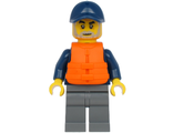 Deep Sea Explorers Boat Captain - Dark Blue Turtleneck Sweater and Cap, Dark Bluish Gray Legs, Life Jacket, n/a (cty1177)