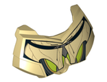 Large Figure Chest Armor Small with SW General Grievous Dark Gray and Lime Pattern, Tan (98603pb022 / 6122779)