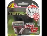 Лезвия сменные для мужской безопасной бритвы K 4 Tetra Neo — 4 лезвия / KAI / 12 шт.