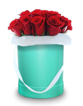Green box red roses