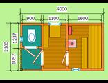 """Схема готовой брусовой бани - размером 4 х 2,3 метра с крыльцом и туалетом. Печь """"Ермак"""" труба выход"""