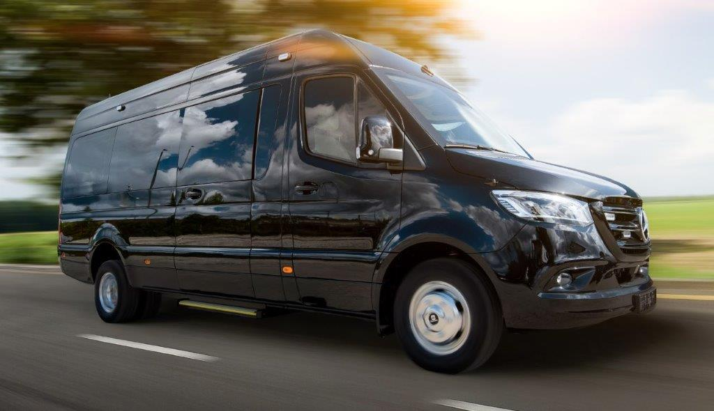 Luxury class discreetly armored VIP mobile office, based on Mercedes-Benz Sprinter 319/519 CDI, RWD/4WD versions in CEN B6, 2020-2021YP.