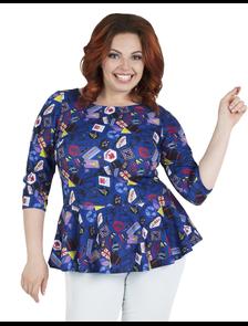 Блуза Дарисса-Белинда-Б002-синий. Размерный ряд: 50-58