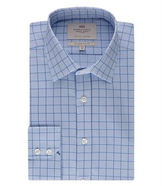 Рубашка HAWES & CURTIS Men's Blue & White Medium Check Slim Fit Shirt