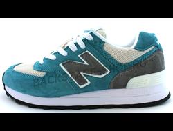 Женские кроссовки New Balance 574 Blue/Gray сетка