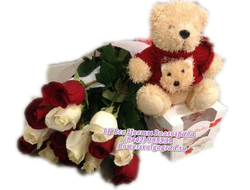 21 роза с мишкой и конфетами