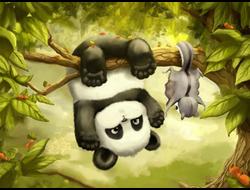 Картина (раскраска) по номерам на холсте - Панда на ветке EX 5206