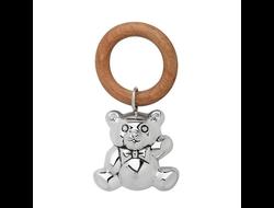 """Серебряная погремушка """"Мишка -2"""" на деревянном кольце"""