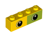 Brick 1 x 4 with Half Lime with Two Eyes Pattern, Yellow (3010pb267 / 6258819)